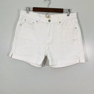 Levi's White Stretchy High Rise Cuffed 515 Shorts